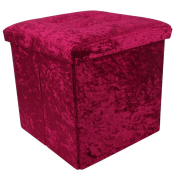 Plum Crushed Velvet Storage Foot Stool Cube