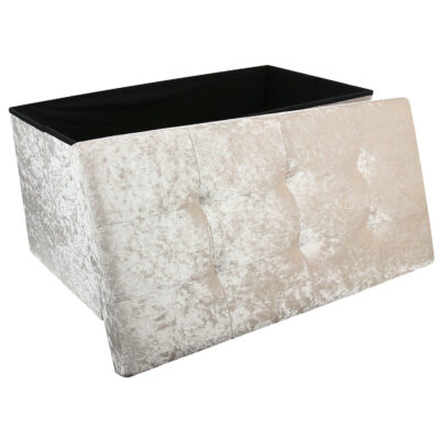 Large Cream Double Crushed Velvet Storage Ottoman