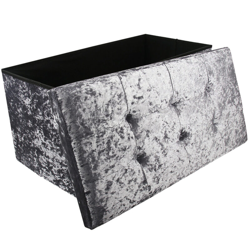 Large Grey Double Crushed Velvet Storage Ottoman