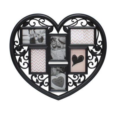 Black Heart Shaped 6 Photo Frame