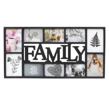 Black 10 Photo Family Frame