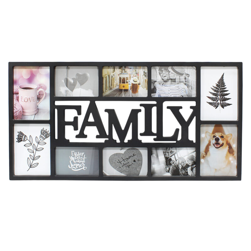 Black 10 Photo Family Frame