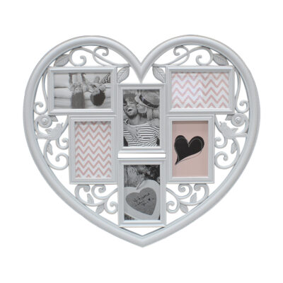 Grey Heart Shaped 6 Photo Frame