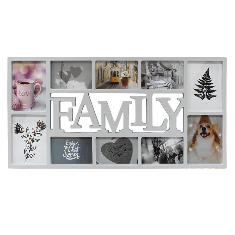 Grey 10 Photo Family Frame
