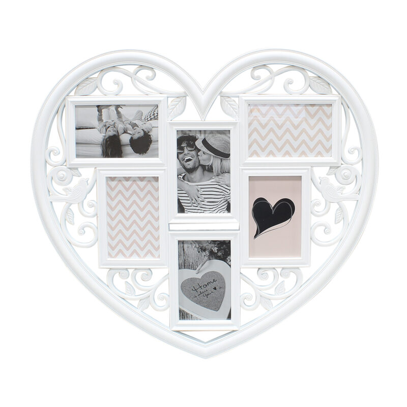 White Heart Shaped 6 Photo Frame